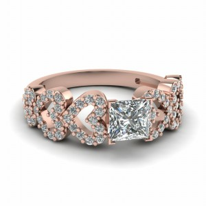 Linked Heart Design Diamond Ring