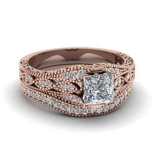 Princess Cut Antique Filigree Diamond Bridal Set In 14K Rose Gold