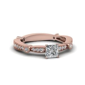 Princess Cut Diamond Vintage Tapered Engagement Ring In 14K Rose Gold