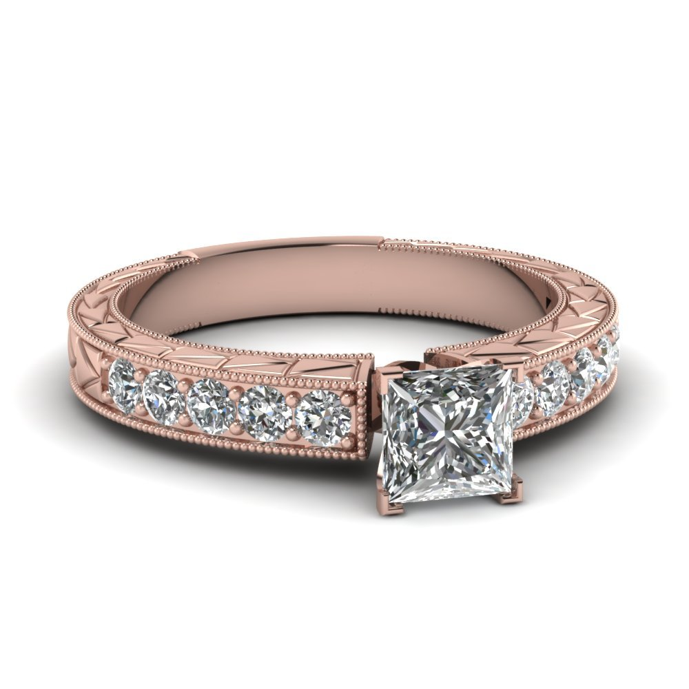 Princess Cut Vintage Pave Diamond Engagement Ring In 18K Rose Gold