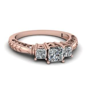 Vintage 3 Stone Diamond Engagement Ring In 14K Rose Gold