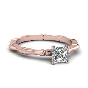 Bone Design Princess Cut Ring