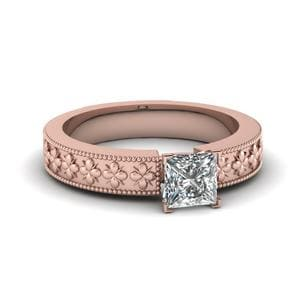 Floral Engraved Princess Cut Solitaire Engagement Ring In 14K Rose Gold