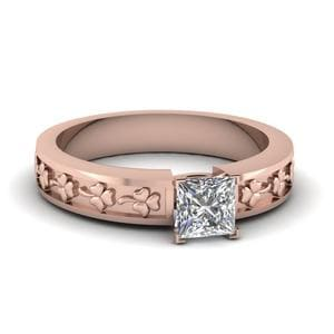 Princess Cut Hand Engraved Flower Solitaire Ring In 14K Rose Gold