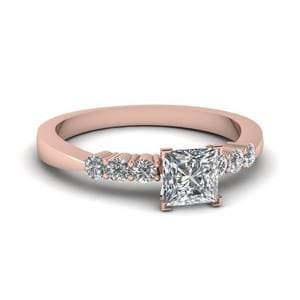 Princess Cut Tapered 7 Stone Engagement Ring In 18K Rose Gold