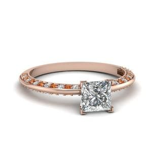 Petite Knife Edge Pave Princess Cut Diamond Engagement Ring With Orange Sapphire In 14K Rose Gold