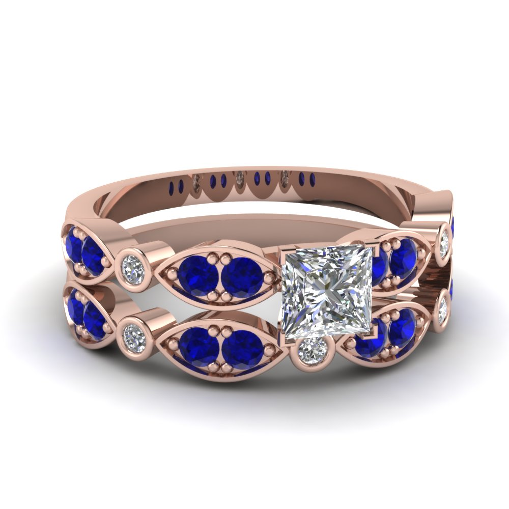 Art Deco Princess Cut Diamond Wedding Ring Set With Sapphire In 14K Rose Gold