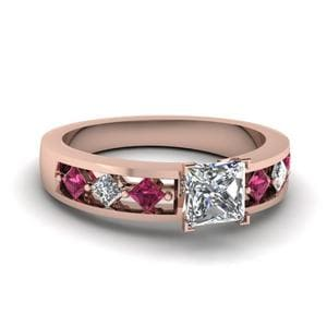 Kite Setting Princess Cut Diamond Engagement Ring With Pink Sapphire In 14K Rose Gold