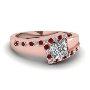 Square Halo Bypass Ruby Ring