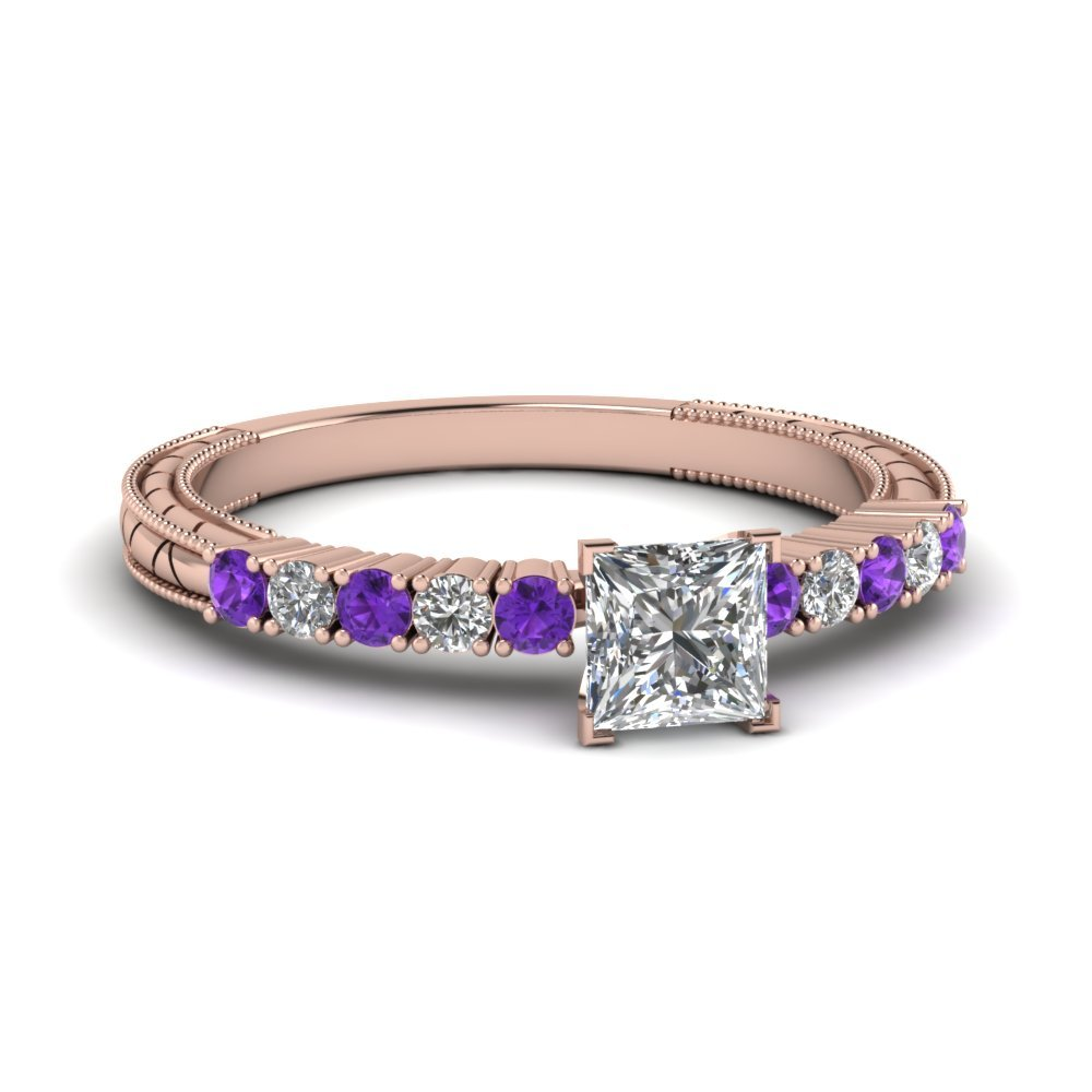 Petite Vintage Princess Cut Diamond Engagement Ring With Purple Topaz In 14K Rose Gold