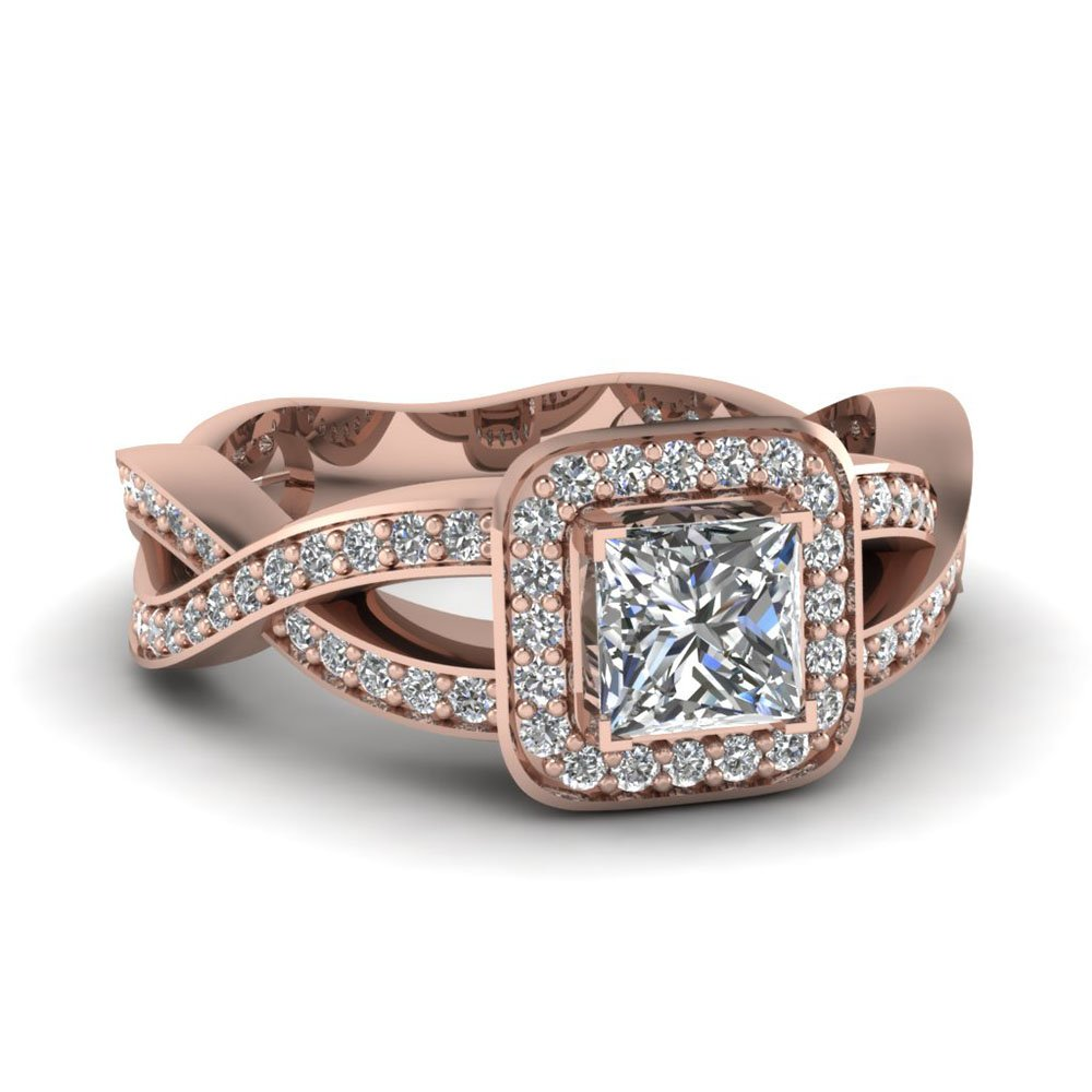 Rose Gold Princess White Diamond Halo Engagement Ring In Pave Set
