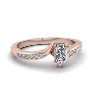 Twist Channel Radiant Diamond Engagement Ring In 14K Rose Gold