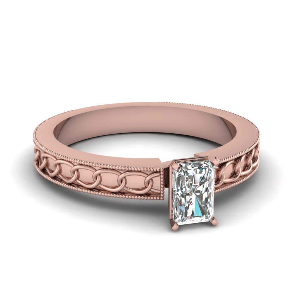 Interlocked Design Radiant Solitaire Engagement Ring In 14K Rose Gold