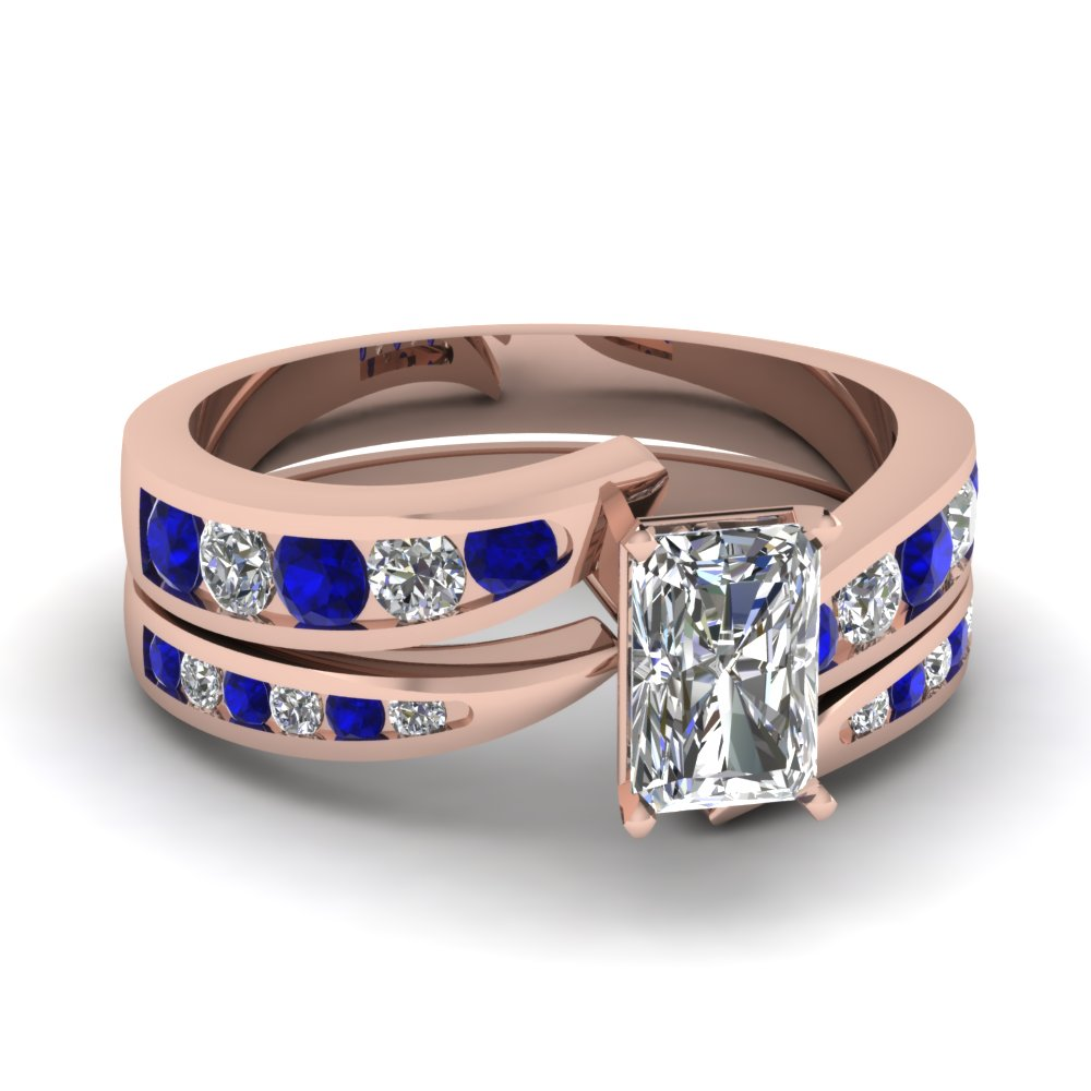 Radiant Diamond And Sapphire Ring Set
