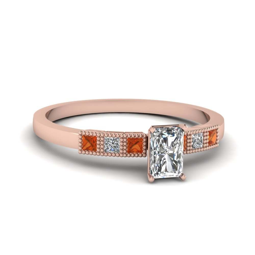 Milgrain Petite Radiant Diamond Engagement Ring With Orange Sapphire In 14K Rose Gold