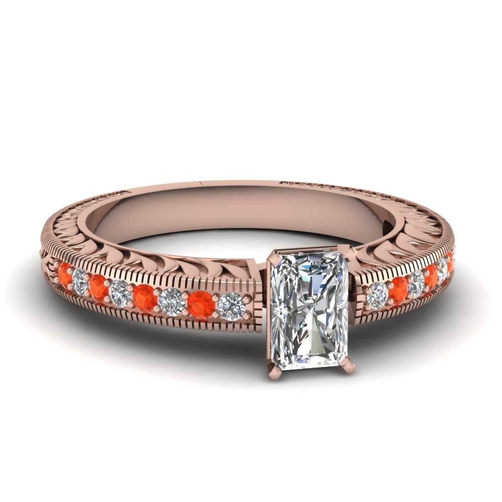 Hand Engraved Radiant Cut Vintage Engagement Ring With Orange Topaz In 14K Rose Gold