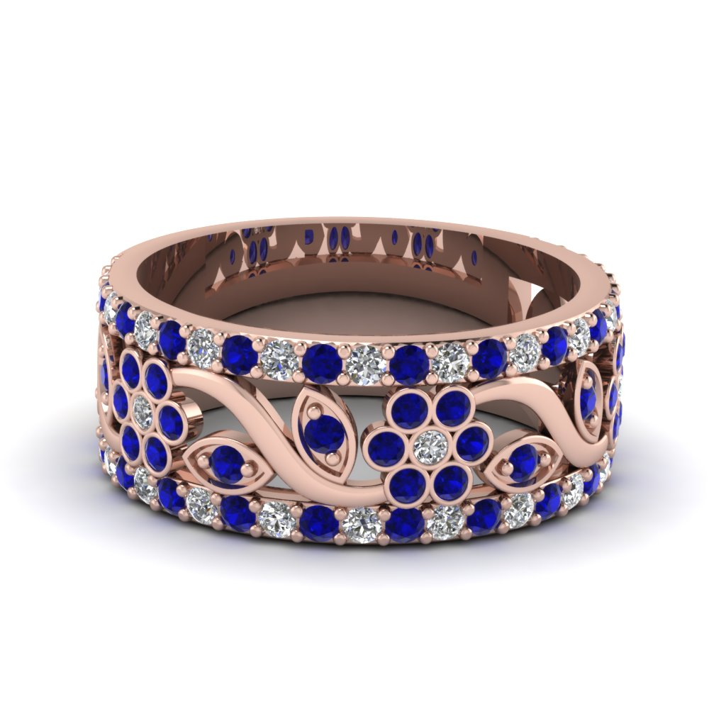 Flower wide sapphire anniversary band