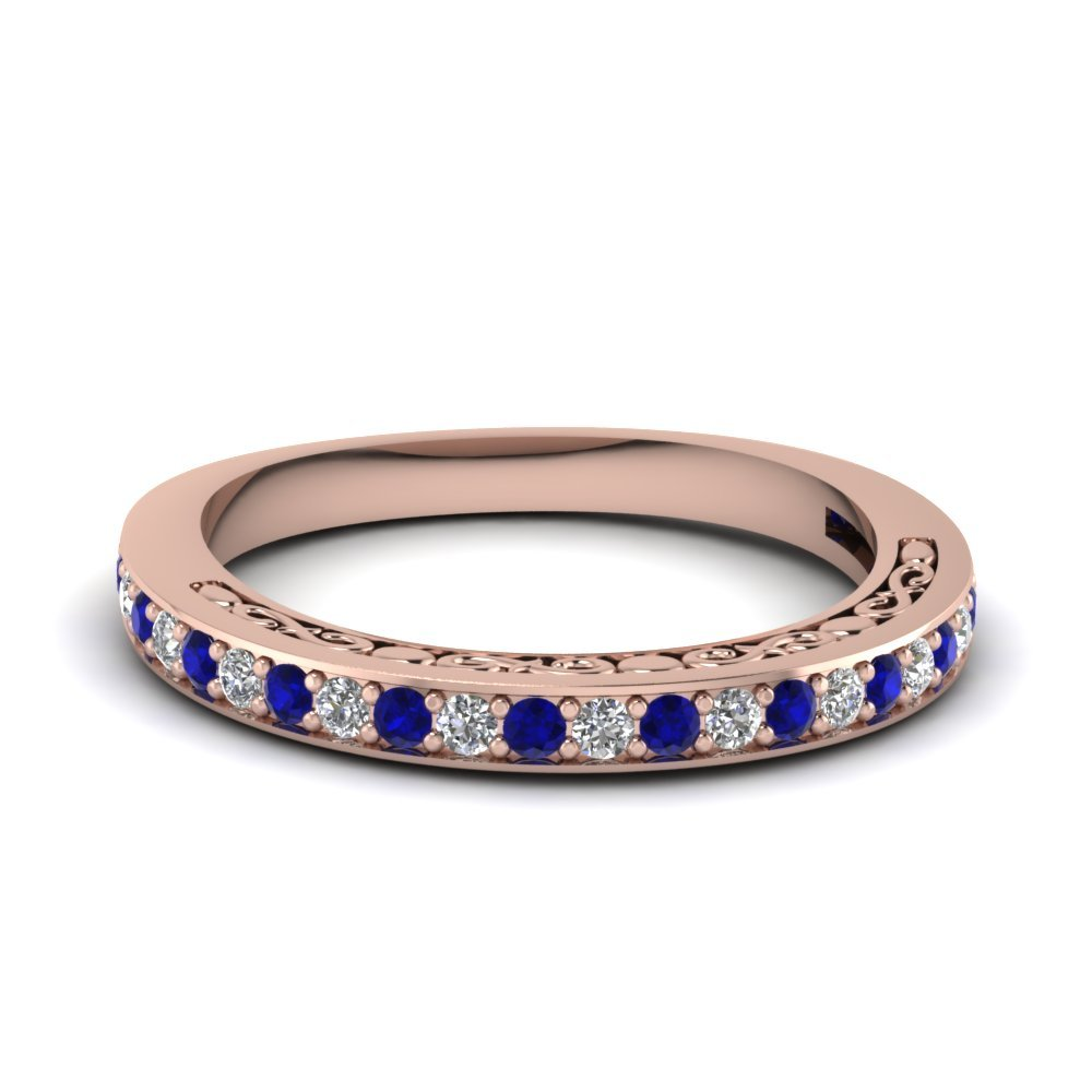 Delicate Filigree Diamond Wedding Band With Sapphire In 14K Rose Gold