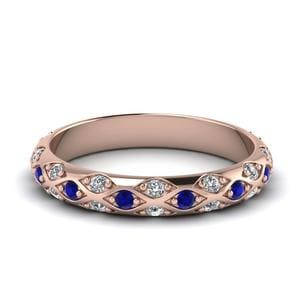Pave Cross Diamond Wedding Band With Sapphire In 14K Rose Gold