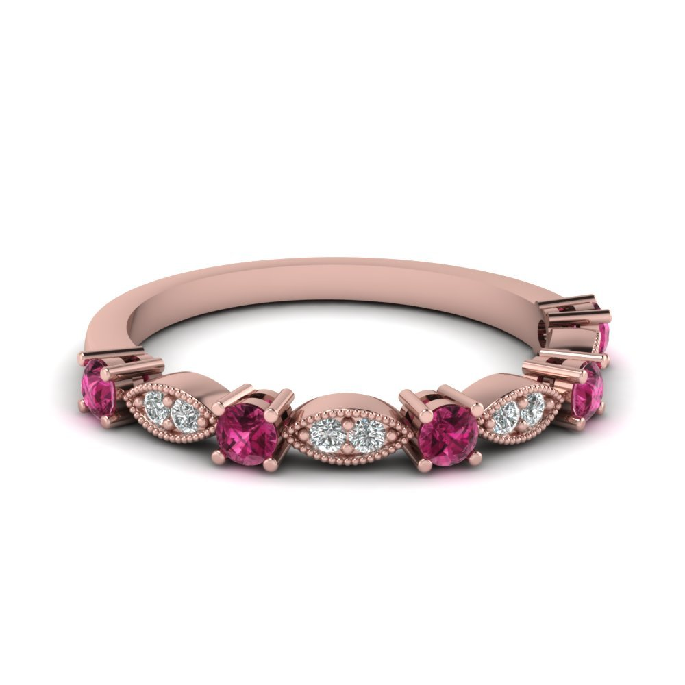 Art Deco Round Diamond Wedding Band With Pink Sapphire In 14K Rose Gold