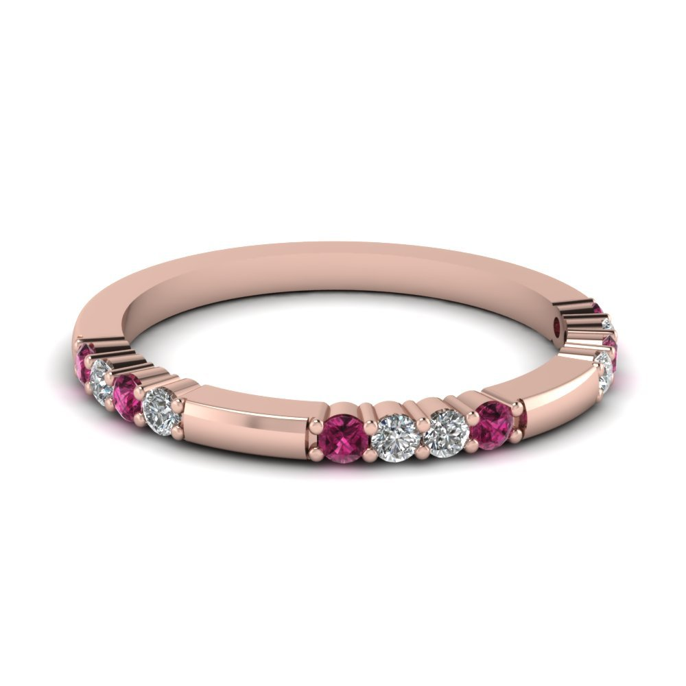 Delicate Diamond And Pink Sapphire Wedding Band In 14K Rose Gold