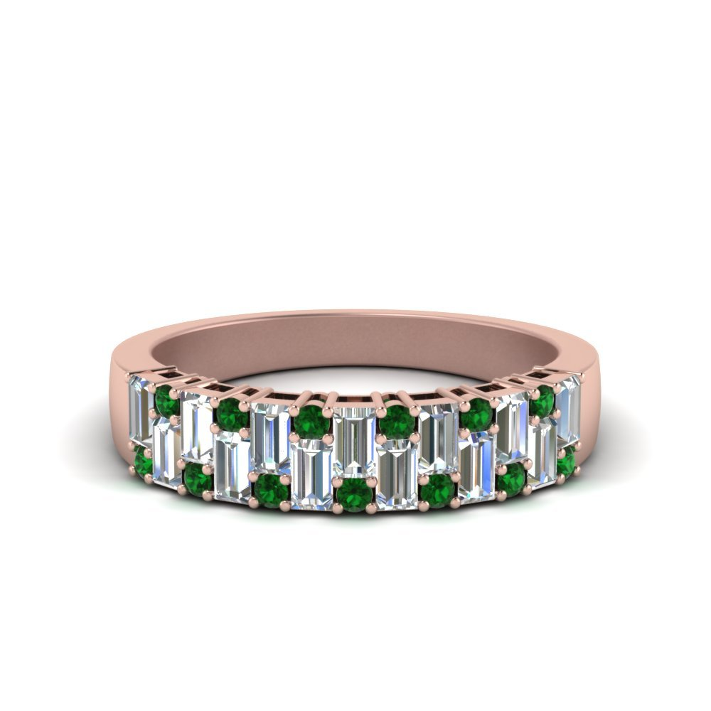 Vintage Baguette Wedding Band With Round Emerald In 18K Rose Gold