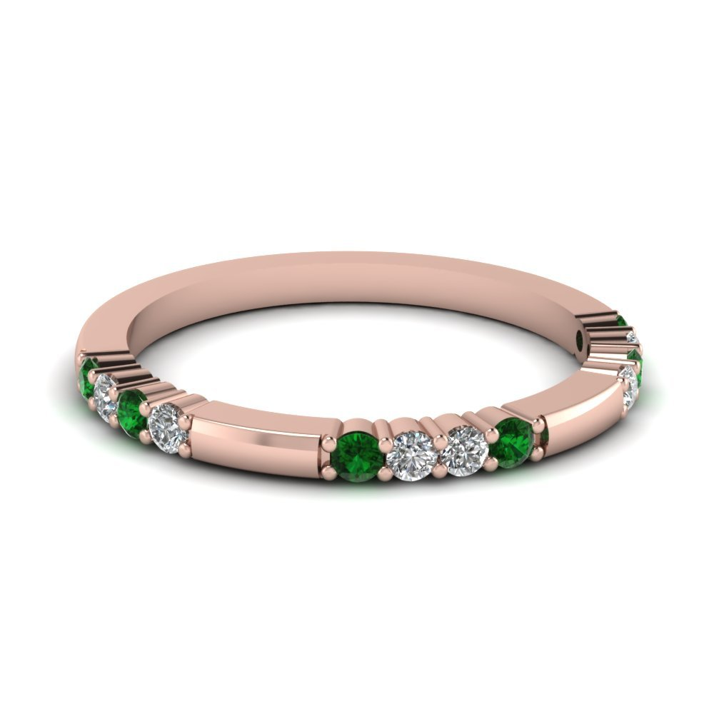 Delicate Diamond And Emerald Wedding Band In 14K Rose Gold