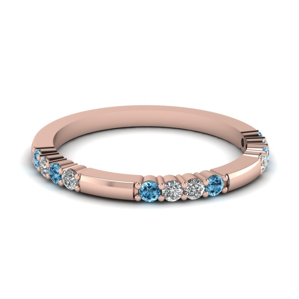 Delicate Diamond And Blue Topaz Wedding Band In 14K Rose Gold