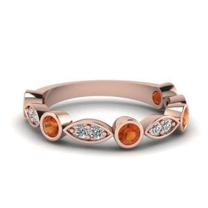 Orange Sapphire Art Deco Wedding Band