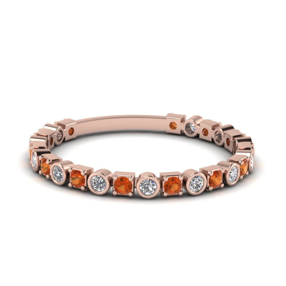 Orange Sapphire Rose Gold Band