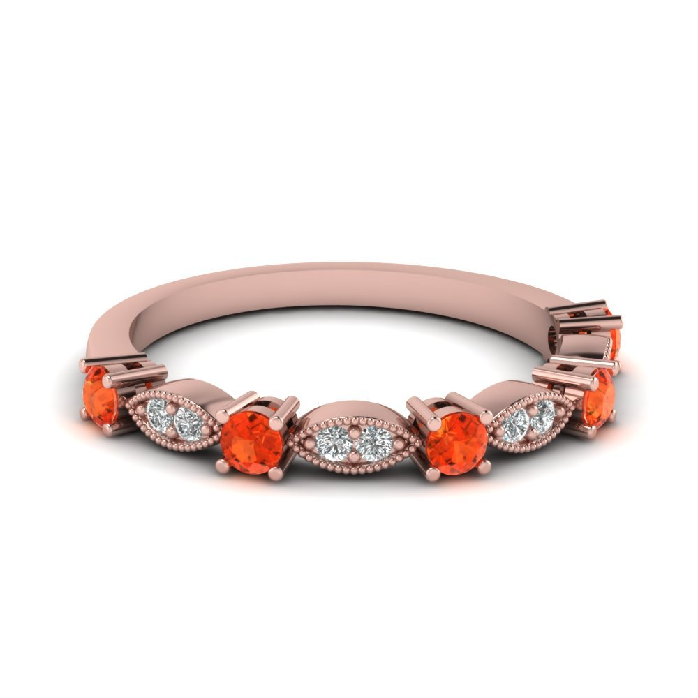 Art Deco Round Diamond Wedding Band With Orange Topaz In 14K Rose Gold