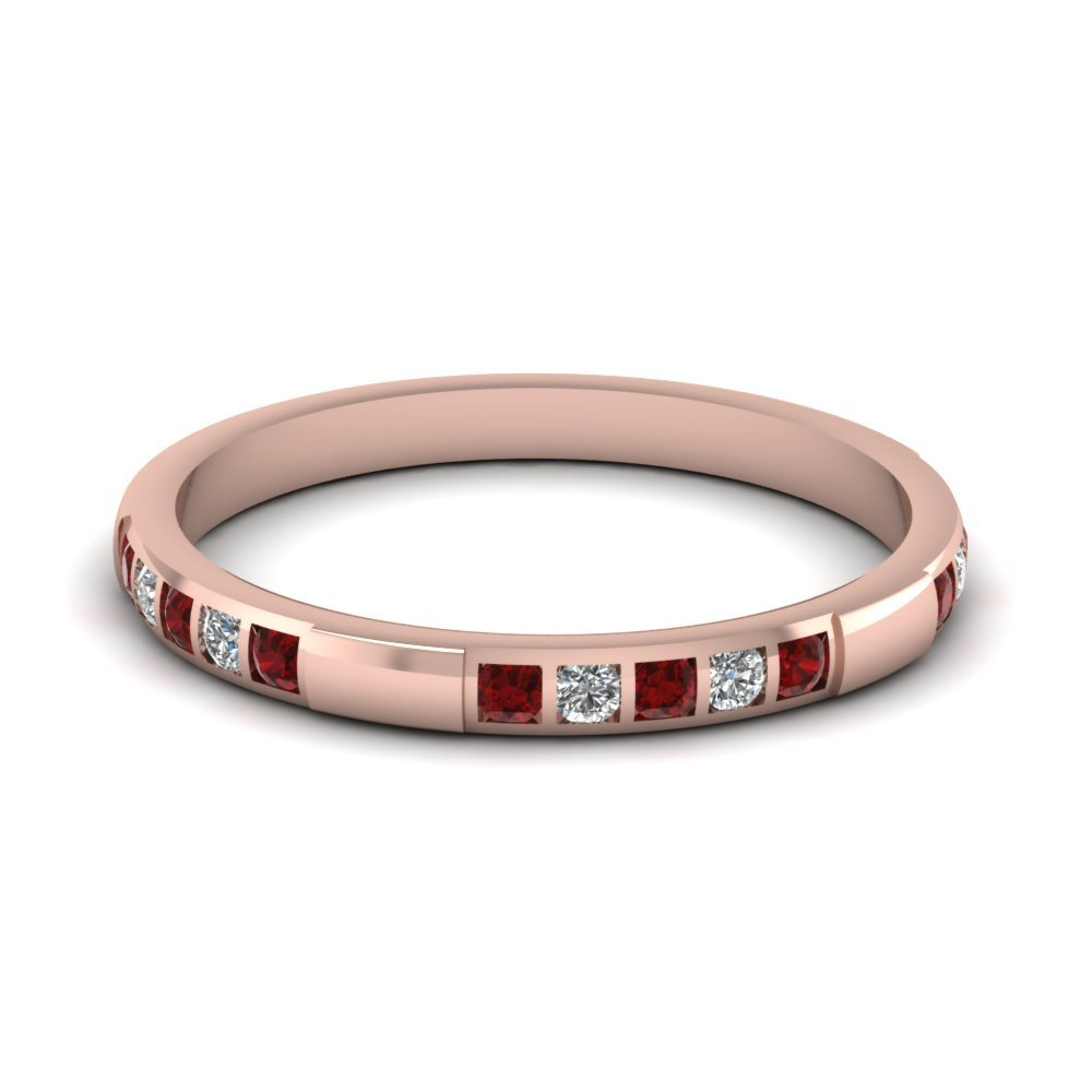 Womens Wedding Bands with Red Ruby in 14K Rose Gold