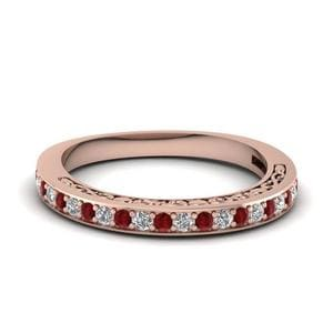 Delicate Filigree Diamond Wedding Band With Ruby In 14K Rose Gold