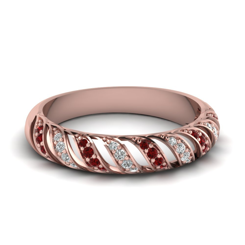 Ruby Rope Design Diamond Wedding Band In 18K Rose Gold