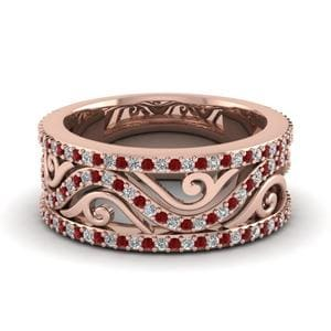 Filigree Ruby Wedding Band