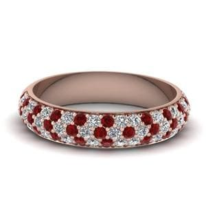 Pave Wedding Band With Ruby
