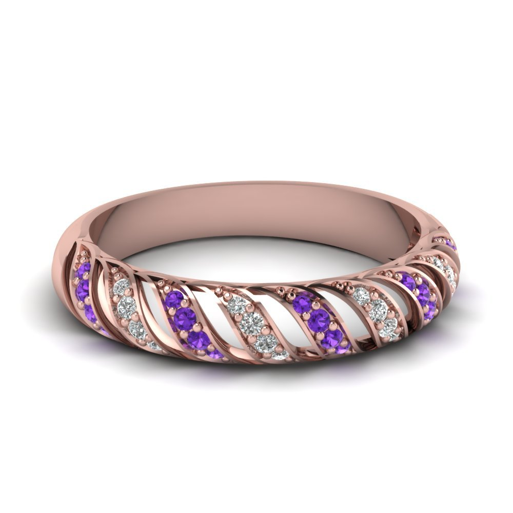 Violet Topaz Rope Design Diamond Wedding Band In 14K Rose Gold