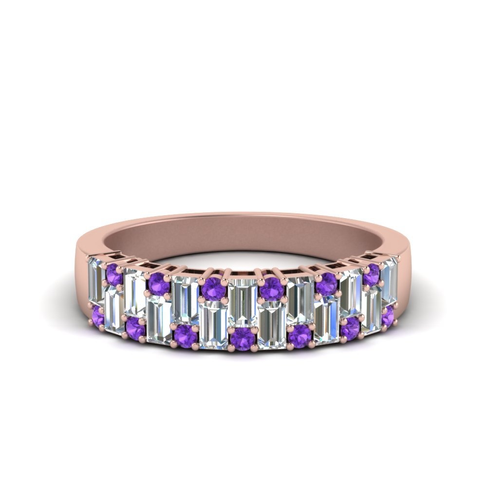 Vintage Baguette Wedding Band With Round Violet Topaz In 14K Rose Gold