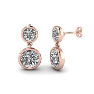 Bezel Round Diamond Drop Earring In 18K Rose Gold
