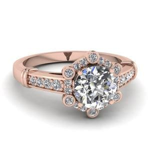 Pave Floral Halo Diamond Engagement Ring In 14K Rose Gold