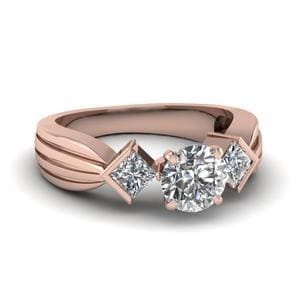 Half Bezel 3 Stone Round Cut Engagement Ring In 14K Rose Gold