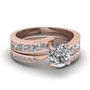 Round Cut Swirl Channel Diamond Bridal Set In 14K Rose Gold