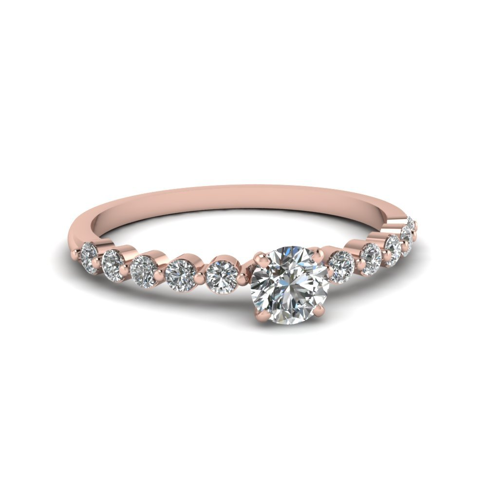 Round Cut Petite Floating Diamond Engagement Ring In 14K Rose Gold