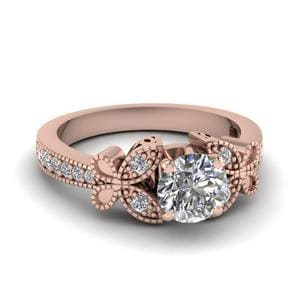Vintage Butterfly Round Diamond Engagement Ring In 18K Rose Gold