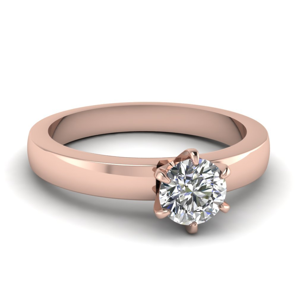6 Prong Solitaire Round Diamond Engagement Ring In 14K Rose Gold