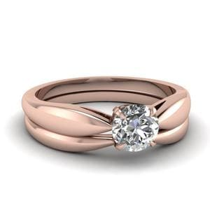 Tapered Bow Solitaire Wedding Ring Set In 18K Rose Gold
