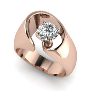 Thick Solitaire Ring 18K Rose Gold