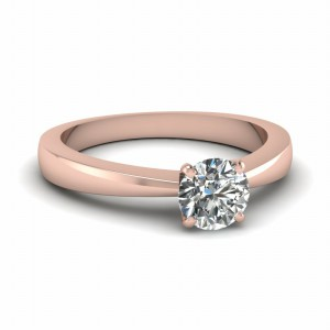 Round Diamond Tapered Solitaire Ring