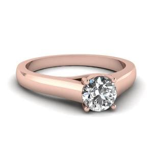 Cathedral Single Diamond Engagement Ring In 14K Rose Gold