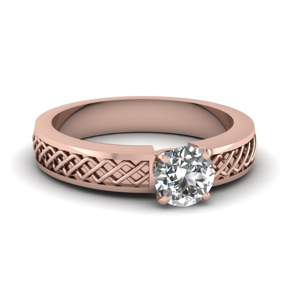 Criss Cross Round Cut Solitaire Engagement Ring In 18K Rose Gold